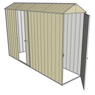 Build-a-Shed 0.8 x 3 x 2.3m Gable Single Hinged Door Shed with Single Sliding Side Door - Cream