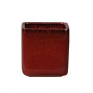 Nothcote Pottery 21 x 20cm Wine Red Glazed Oslo Cube