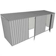 Build-a-Shed 1.5 x 5.2 x 2m Dual Single Hinged Side Door Skillion Shed - Zinc