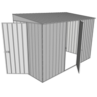Build-a-Shed 1.5 x 3.0 x 2.0m Hinged Door Tunnel Shed with Hinged Side Door - Zinc