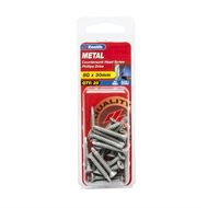 Zenith 8G x 30mm Galvanised Countersunk Head Metal Screws - 25 Pack