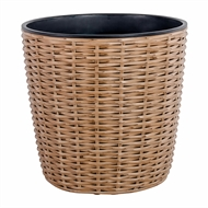 Tuscan Path 320mm Honey Blonde Round Poly Rattan Planter