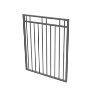 Protector Aluminium 975 x 1200mm Double Top Rail 2 Up 2 Down Gate - To Suit Gudgeon Hinges - Palladium Silver