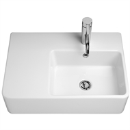 Caroma White Cube Extension Wall Basin With 1 Tap Hole and Right Hand Shelf