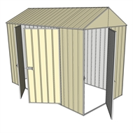 Build-a-Shed 1.5 x 3.0 x 2.3m Front Gable Single Hinged and Double Hinged Door Narrow Shed - Cream