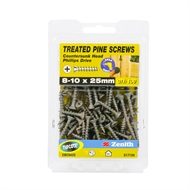 Zenith 8 - 10 x 25mm Treated Pine Countersunk Head Screws - 100 Pack
