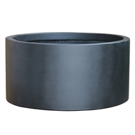 Lotus 46 x 21cm Medium Black Low Cylinder Pot