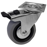 Easyroll 75mm Grey Rubber Swivel plate + Brake castor