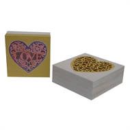 Boyle Wood Square Boxes Laser Cut Hearts - Set of 2