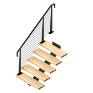 Weldlok Monostringer Timber and Wire 5 Tread Stair kit