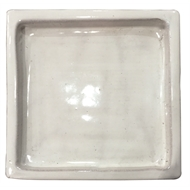 Northcote Pottery White Primo Glazed Terracotta Sqaure Saucer - 350mm