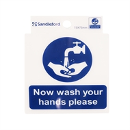 Sandleford 75 x 75mm Now Wash Your Hands Please Self Adhesive Sign