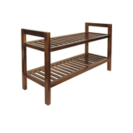 All Set 2 Tier Brown Wooden Shoe Rack