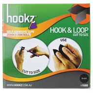 Hookz 25mm x 20m Black Hook And Loop Tape