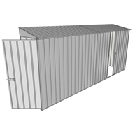 Build-a-Shed 0.8 x 4.5 x 2m Skillion Single Hinged Door Shed with Single Sliding Side Door - Zinc