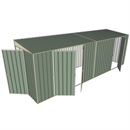 Build-a-Shed 1.5 x 6 x 2m Hinged Door Tunnel Shed with 3 Hinged Side Doors - Green