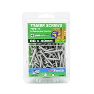 Zenith 8g x 40mm Galvanised Countersunk Ribbed Head Type 17 Timber Screws - 100 Pack