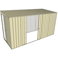 Build-a-Shed 1.5 x 3.7 x 2m Sliding Door Tunnel Shed with Double Sliding Side Doors - Cream