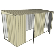 Build-a-Shed 1.5 x 4.5 x 2m Sliding Door Tunnel Shed with Side Doors - Cream