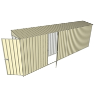 Build-a-Shed 0.8 x 6 x 2m Single Hinged Door Skillion Shed with Single Hinged Side Door - Cream