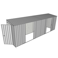 Build-A-Shed 1.2 x 6.0 x 2.0m Zinc Tunnel Shed Tunnel Hinged Door with 2 Double Sliding Side Doors - Zinc