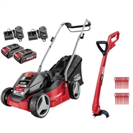 Ozito Power X Change 2 x 18V Cordless Mower and Grass Trimmer Kit
