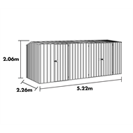 Garden Pro 5.22 x 2.26 x 2.06m Gable Roof Three Door Shed - Zinc
