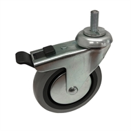 Easyroll 100mm 55kg Grey Rubber Swivel Plus Brake Castor