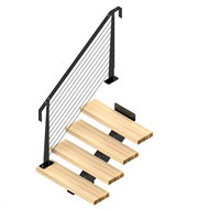 Weldlock Monostringer Timber and Wire 4 Tread Stair kit