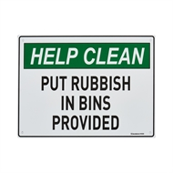 Sandleford 300 x 225mm Put Rubbish In Bin Plastic Sign