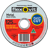 Flexovit 125 x 2.5 x 22.2mm Metal Cutting Wheel