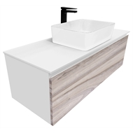 Cibo Design 1200mm Glee Cafe Oak Vanity With White Basin