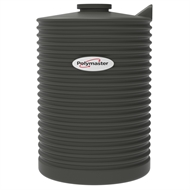 Polymaster 1000L Round Corrugated Poly Water Tank - Slate Grey