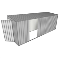Build-a-Shed 1.5 x 5.2 x 2m Hinged Door Tunnel Shed with Double Sliding Side Door - Zinc