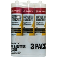 Parfix 300g Clear Roof and Gutter Silicone - 3 Pack