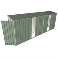 Build-a-Shed 0.8 x 5.2 x 2m Hinged Door Tunnel Shed with Dual Single Sliding Side Doors - Green