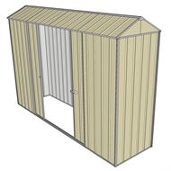 Build-a-Shed 0.8 x 3 x 2.3m Gable Double Sliding Side Door Shed - Cream