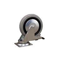 Ambassador 100mm Grey Rubber Heavy Duty Swivel Brake Castor
