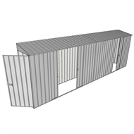 Build-a-Shed 0.8 x 6 x 2m Hinged Door Tunnel Shed with Double and Single Sliding Side Doors - Zinc