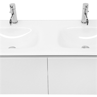 Cibo Design 1200mm White Seamless Double Basin Vanity With 15mm Toughened Glass Top