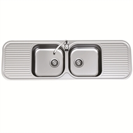 Clark 1530mm Advance Double Centre Bowl Sink With 1 Tap Hole