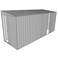 Build-a-Shed 1.5 x 4.5 x 2m Sliding Door Tunnel Shed with 1 Sliding Side Door - Zinc
