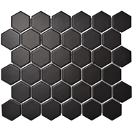 Decor8 Tiles 284 x 324 x 6mm Black Matt Hexagon Ceramic Mosaic Tile