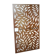 Protector Aluminium 975 x 1750mm Rust Large Leaf Deco Steel Gate Panel