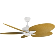 Crestwind 52-Inch White Bamboo Ceiling Fan - Natural