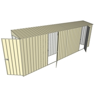Build-a-Shed 0.8 x 6 x 2m Single Hinged Door Skillion Shed with Dual Single Hinged Side Doors - Cream