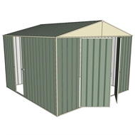 Build-a-Shed 3.0 x 3.0 x 2.3m Double Hinge and Single Sliding Door Shed - Green