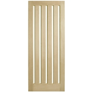 Corinthian Doors 820 x 2340 x 40mm Blonde Oak AWO 5VG Clear Glass Entrance Door