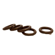 Windoware 35mm Walnut Wood Pole Curtain Rings - 5 Pack
