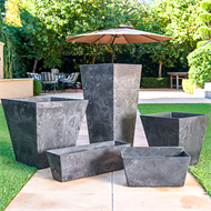 Tuscan Path 55 x 17 x 16cm Black Stone Art Ella Balcony Pot